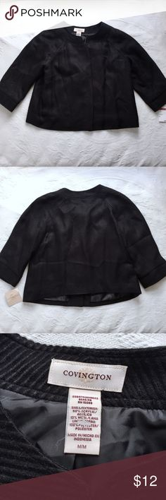 Black Jacket Black textured jacket. Hidden buttons down the front. New. Covington Jackets & Coats Blazers