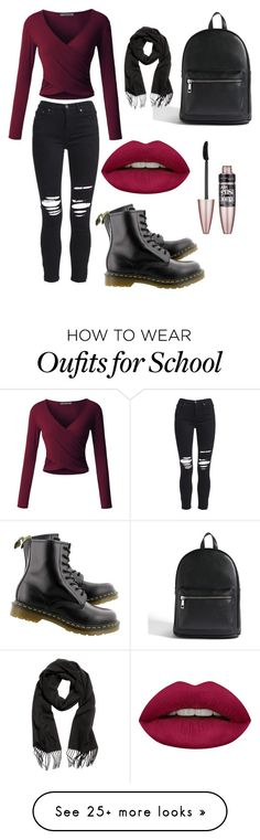 """""""School"""" by annahemmingsxx on Polyvore featuring LE3NO, AMIRI, Dr. Martens, Forever 21, Huda Beauty and Maybelline"""
