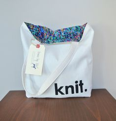 Knitting tote by greenedogtotes on Etsy https://www.etsy.com/listing/204560753/knitting-tote