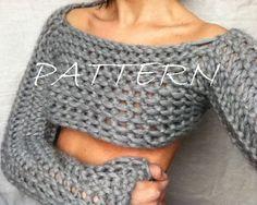 Knit Cropped Sweater Pattern / Knit Dance Shrug by DesigningEva on Etsy