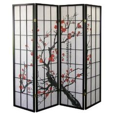 """Black 4 Panel Plum Blossom Screen Room Divider by Legacy Decor. $48.00. Measurement:  70"""" high   X   70"""" wide open  X   1"""" deep. Ready to use instantly, easy to move & folds flat for storage. Japanese- oriental style with plum blossom print. Made of pine wood and veneer and white  rice paper like. 4 panels folding screen with 2-way hinges for more flexible stand and position.. The Shoji room dividers are traditional Asian style screens made from translucent paper a..."""