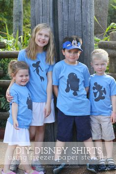 What a great updated spin on the whole matching shirt thing! DIY Disney T-shirts Using Freezer Paper Stencils + Silhouette