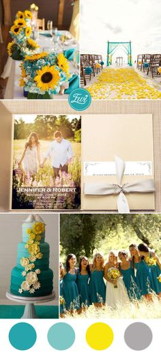 yellow and teal wedding color ideas and pocket wedding invitations