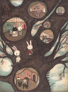Tree Animal PrintForest Grove Apartments by thepoppytree on Etsy, $18.00. oh i LOVE this!!! Used to love the Berenstein bears books with the illustrations of their tree house when I was a kid.  this reminds me of that..