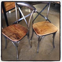 X-Back Metal Chair with Wood Seat