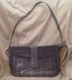 "Gray Genuine Eel Skin Purse/Shoulder Bag - Small - 12.5""w x 7.5""h x 2.5""d…"
