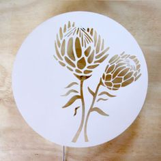 Protea Wall Light Large - for next to the bed rooms) Protea Art, Protea Flower, Stencil Painting, Ceramic Painting, Stenciling, Laser Cutter Projects, Chalk Paint Projects, Diy Projects, Laser Art