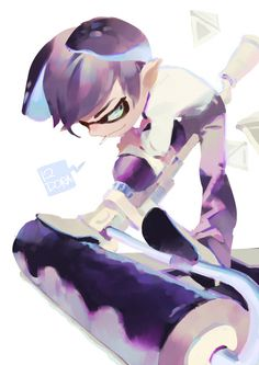 「splatoon log」/「零@SAN値不足」の漫画 [pixiv] --> Purple roller Inkling, this colour…