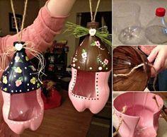 un projet déco récup et objet usuel, fabriquer mangeoire oiseaux à l aide de bouteilles en plastique, motifs floraux