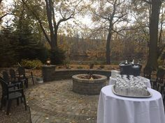 Fall Champagne Toast by our Fire Pit!