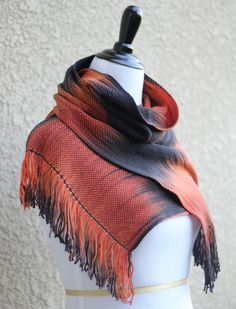 Hand woven scarf made in pooling technique. This means that color is gradually changes from black to orange.  My scarves are unique and OOAK as it is almost impossible to m... #kgthreads #halloween