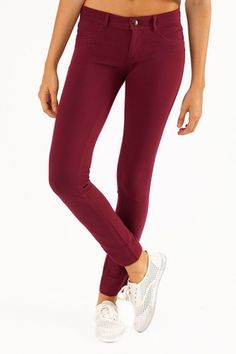 Perfect red skinny jeans for winter