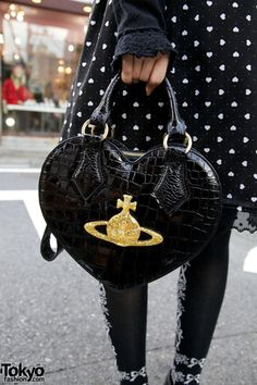 Vivienne Westwood black heart bag in Harajuku.