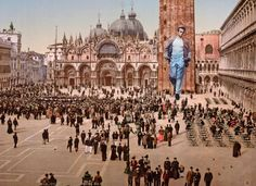 James Dean the Giant attending a concert in St. Mark's Place Venice Italy 1890's