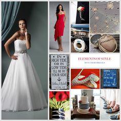 Elements of Style – Nautical Wedding Perfect Wedding Dress, Dream Wedding Dresses, Designer Wedding Dresses, Bridal Dresses, One Shoulder Wedding Dress, Wedding Gowns, Nautical Wedding Theme, Wedding Colors, Wedding Inspiration