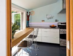 Interior: Stylish Small Kitchen Design With Grey Round Coin Like Textured Rubber Flooring Coupled With Light Aqua Walls And White Cabinetry: Interior Decor With Rubber Flooring