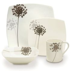 4 Piece Place Setting Mikasa.com  Floral Silhouette  high quality bone china, and are accompanied by a mica background on some pieces for a distinctly elegant tabletop