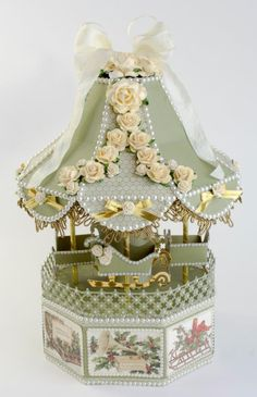FREE WPC file  Tutorial and templates Taras Studio_20150824_6 Carousel with SLEIGHS and 4 opening drawers in base, winter fair, Christmas, Fair, Box, gift, treat, able display, decoration....would look amazing lit up!