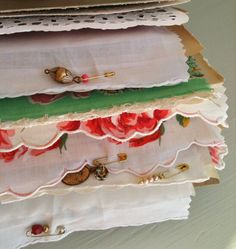 Mixed Media Smash Book - Shabby Chic Vintage Rose Fabric & Metal Charms - 6 x 8 - 80 Pages