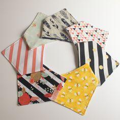 Girls Bibdanas / Bandana BIbs (Stripes / Feathers /Floral / Bees/ Geometric) by Cozy Creatures Co.