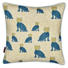 Leopard Cushion - Petrol Blue/Mustard from etoile-home.com
