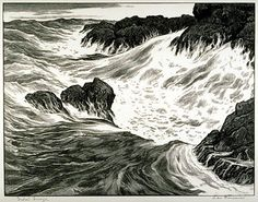 Leo Meissner United States Tidal Surge, 1961 Wood engraving The Prairie Print Makers Gift Print Collection Uncle Leo, Gift Maker, Scratchboard, Wood Engraving, Art Museum, Printmaking, Nautical, United States, Graphics