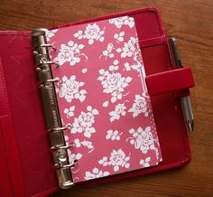 A5 or Personal Size DIVIDERS  Red Floral  #447 - Fits FILOFAX