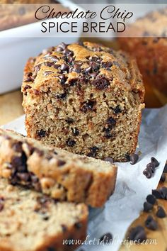 Chocolate Chip Spice Bread Recipe   This simple but delicious spice bread is studded with chocolate chips to make it extra special. Perfect for holiday gift giving! #bread #chocolatechip #quickbread