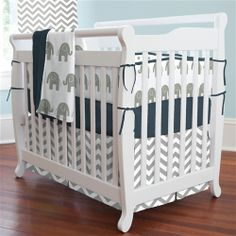 Navy and Gray Elephants Mini Crib Bedding | Carousel Designs... Perfect