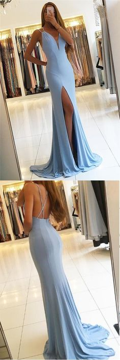 Gorgeous Spaghetti Straps Sleeveless Mermaid Blue Long Evening Dress,Slit Sweep Train Prom Dresses