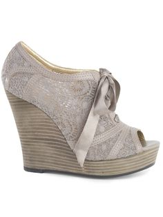 Wedge, lace, ribbon, peep toe...what else could you ask for?