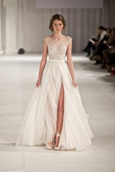 Paolo Sebastian Swan Lake Wedding Dress with Nude Bustier - Paolo Sebastian - Nearly Newlywed Bridal Boutique - 1