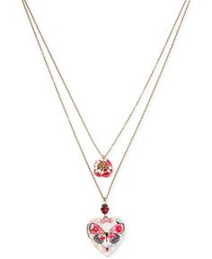 Betsey Johnson Gold-Tone Butterfly Locket Layer Pendant Necklace