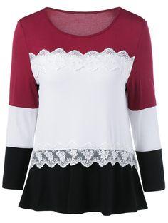 Lace Splicing Long Sleeves T-Shirt
