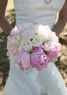 White and pink peony flower wedding bouquet