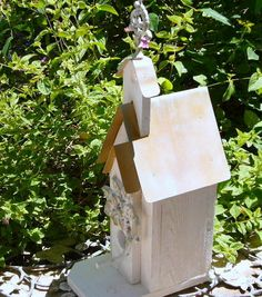 Shabby Chic Cottage Birdhouse Tin Roof by LaurensGardenCottage, $75.00