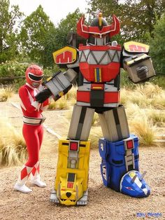 Red Ranger and Original Megazord cosplay.