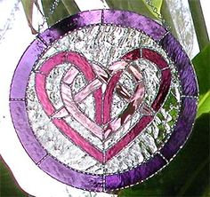 "Heart Shaped Celtic Knot Stained Glass Suncatcher Art Design - 11"" - $55.95 - Celtic Designs, Irish Designs, Irish Sun Catchers - Glass Suncatchers, Stained Glass Décor, Stained Glass Sun Catchers -  Stained Glass Design - See more stained glass designs at www.AccentonGlass.com"
