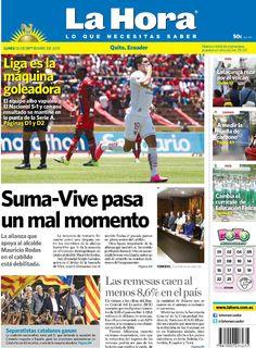 """Esta es nuestra portada de hoy, 28 de septiembre del 2015. Tema destacado: """" Suma- Vive pasa un mal momento""""."""