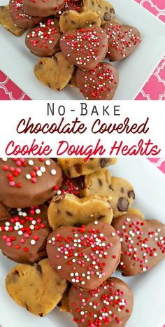 No-Bake Chocolate Covered Cookie Dough Hearts Recipe — Raw cookie dough that you can eat! No-Bake Chocolate Covered Cookie Dough Hearts Recipe — Raw cookie dough that you can eat! Easy Desserts, Delicious Desserts, Yummy Food, Baking Desserts, Baking Recipes, Cookie Recipes, Dessert Recipes, Holiday Treats, Holiday Recipes