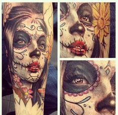 Tatouage Bras Crâne Mexicain par LDF Tattoo