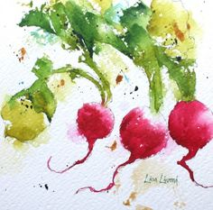 radish, vegetable, red, green, garden, farmers market, watercolor, painting, fine art, Lisa Livoni, Napa Valley artist, colorist