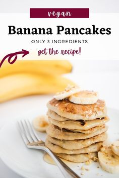 Healthy vegan banana pancakes that call for only 3 ingredients you probably have at hand right now. Dairy-free, sugar-free and fat-free, these can serve as a legit breakfast that will fuel your morning and put a smile on your face. #vegan #pancakes #bananapancakes Vegan Banana Pancakes, Pancake Muffins, Healthy Breakfast Options, Healthy Snacks, Dairy Free Recipes, Vegan Recipes, Food Words, Vegan Foods, Coconut Flour