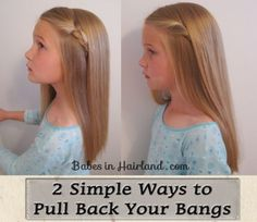 2 simple ways to pull back bangs. The model is my niece from my sister-in-law's site Babes in Hairland!