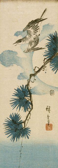Cuckoo and Pine Tree with Full Moon | LACMA Collections Cuckoo and Pine Tree with Full Moon Series: Birds and Flowers Utagawa Hiroshige (Japan, Edo, 1797-1858) Japan, circa 1844 Prints; woodcuts Color woodblock print Image: 13 3/16 x 4 1/2 in. (33.5 x 11.5 cm); Sheet: 13 3/16 x 4 1/2 in. (33.5 x 11.5 cm) Gift of Dr. Harvey Eagleson (M.66.35.38) Japanese Art