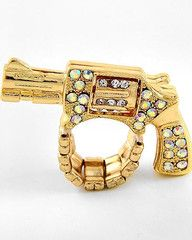 Run From My Gun Gold Ring-$28-Find hot fashion jewellery and statement jewlry at Strike Envy. #jewellery #jewlry