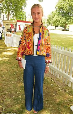 Pin for Later: Meet Lady Amelia Windsor, a British Royal With Bonafide Fashion Credentials June 2015 Wearing wide-leg jeans and a statement jacket at a charity cricket match in London. Amelie, Giorgio Armani, Christian Dior, Lady Amelia Windsor, Princess Alexandra, Princess Eugenie, Men's Fashion Brands, Wide Leg Jeans, New Girl