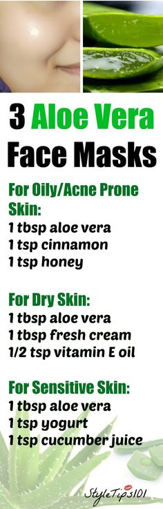 These 3 aloe vera face masks for every skin type will leave your skin radiant and glowing! No matter if you have acne prone, oily, dry, or sensitive skin, aloe vera has amazing medicinal properties that can cure even the most stubborn skin problems. Skin Tips, Skin Care Tips, Beauty Care, Beauty Skin, Beauty Tips, Diy Beauty, Beauty Hacks, Face Beauty, Beauty Makeup
