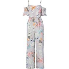 Bardot Cold Shoulder Tie Waist Floral Jumpsuit