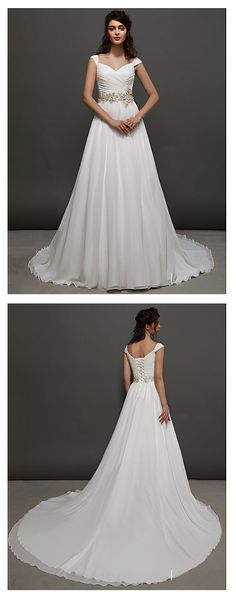 Plan a beautiful ceremony in a church, wear this gorgeous chapel train straps chiffon wedding dress with gold appliques! $199.99
